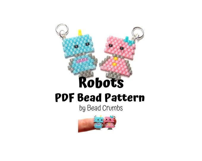 Robots Brick Stitch Bead Pattern, PDF Digital Download