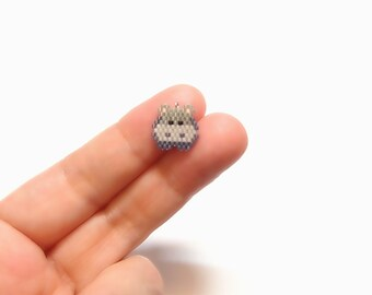 Micro Hippo Seed Bead Charm with Optional Brick Stitch Pattern