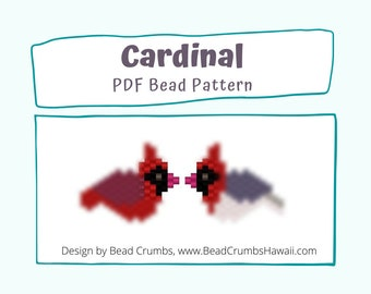 Cardinal Bead Patterns, Peyote or Brick Stitch Beading, Miyuki Delica Charms - Digital Download