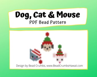 Bead Pattern Christmas Dog, Cat and Mouse Charms | Peyote / Brick Stitch Beading - Digital Download
