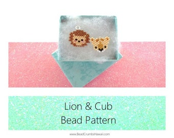 Brick Stitch Patterns: Lion & Cub, Miyuki Delica Seed Bead Charms