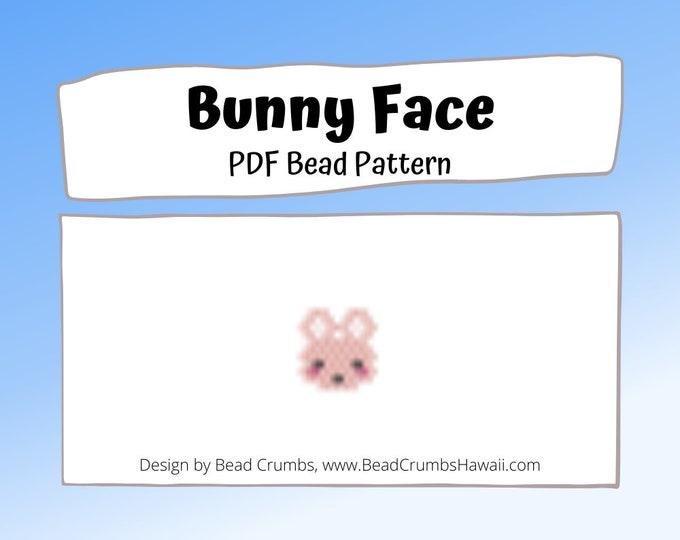 Small Bunny Face Pattern, Brick or Peyote Stitch, Seed Bead Pattern, PDF Digital File