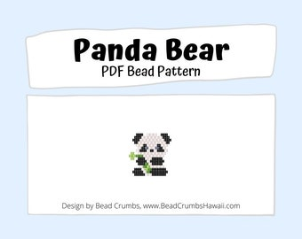 Brick Stitch Bead PATTERN Panda Bear, Beaded Animal Charm Pendant Earring Jewelry, PDF Digital Pattern