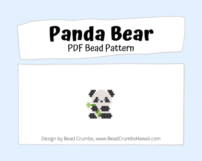 Brick Stitch Bead PATTERN Panda Bear, Beaded Animal Charm Pendant Earring Jewelry, PDF Digital Pattern