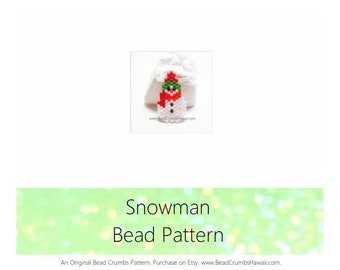 Snowman Bead Pattern, Peyote or Brick Stitch Charm Jewelry | DIGITAL DOWNLOAD