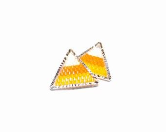 Halloween Candy Corn Seed Bead Pendant / Charm (1 Piece)