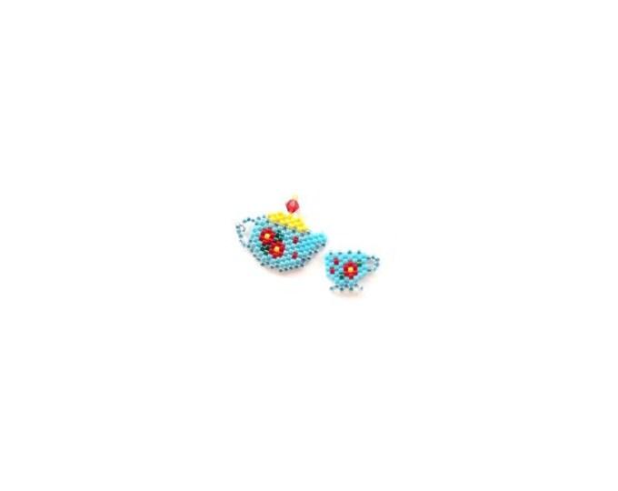 Brick Stitch Teapot and Tea Cup Bead Pattern | Printable Digital Download
