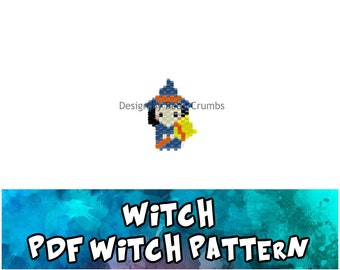 Witch Brick Stitch Bead PATTERN, Digital Download
