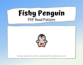Brick Stitch Fishy Penguin Charm Bead Pattern, PDF Digital Download