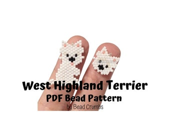 West Highland Terrier Dog Brick Stitch Bead Pattern, PDF Digital File