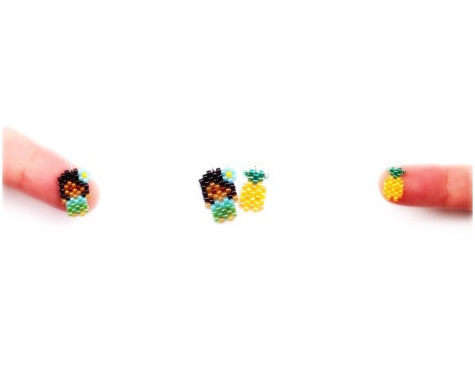 Small Hula Girl & Mini Pineapple Brick Stitch Bead PATTERNS | DIGITAL DOWNLOAD