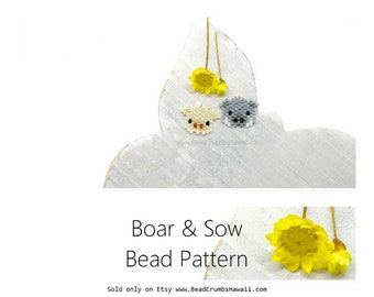 Boar & Sow Bead Patterns, 2019 Year of the Pig, Brick Stitch Beading