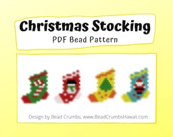 Bead Pattern Christmas Stocking Set, Peyote / Brick Stitch Beading, DIY Miyuki Charms - Digital Download