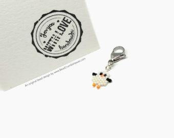 Mini Seagull Charm - for pendant, lanyard, purse, planners - Miyuki Delica brick stitch beading
