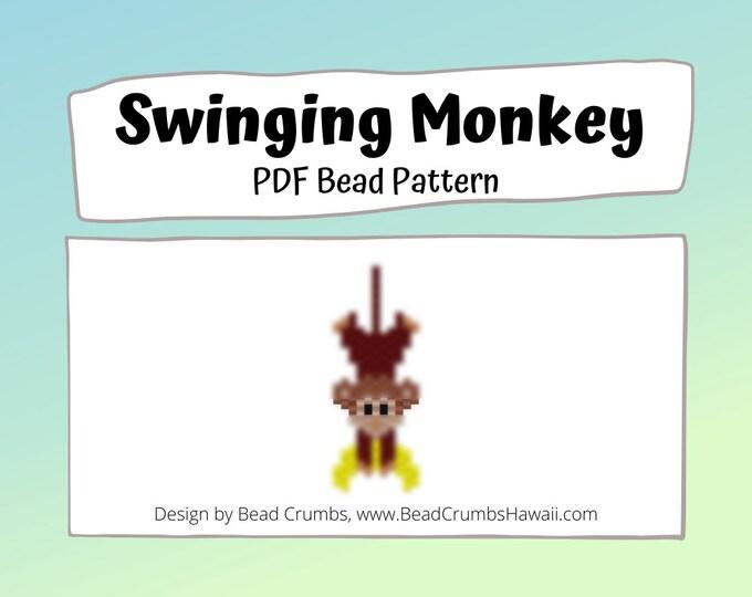 Monkey Beading Pattern, Peyote / Brick Stitch, Cute Animal Bead Weaving | DIGITAL DOWNLOAD