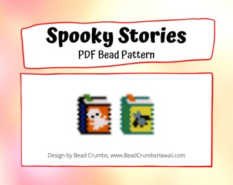 Brick Stitch / Peyote Stitch Ghost and Bat, Halloween Books, Seed Bead Charm Earring Patterns, Digital Download