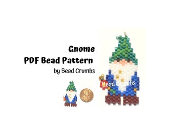 Gnome Beading PATTERN, Cute DIY Brick Stitch Charm, PDF Digital Download