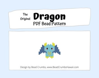 Brick Stitch Bead Pattern Dragon, Beaded Colorful Fantasy Animal Charm Pendant Earring Jewelry, PDF Digital Pattern