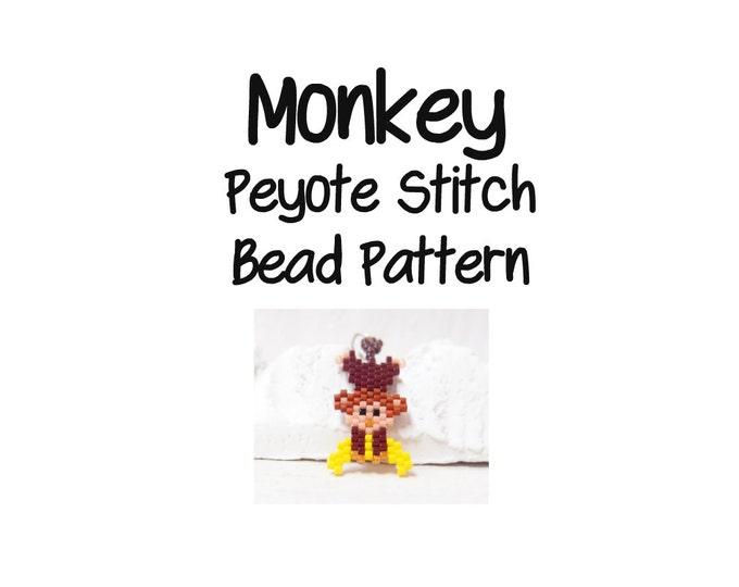 Monkey Beading Pattern, Peyote / Brick Stitch, Cute Animal Bead Weaving   DIGITAL DOWNLOAD