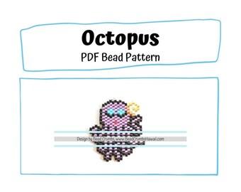 Beading Pattern Octopus Charm, Brick Stitch Miyuki Delica, PDF Digital Download
