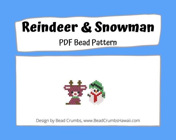 Reindeer and Snowman Brick Stitch Bead PATTERNS, DIY Christmas Craft, Cute Jewelry Charms, PDF Digital Pattern