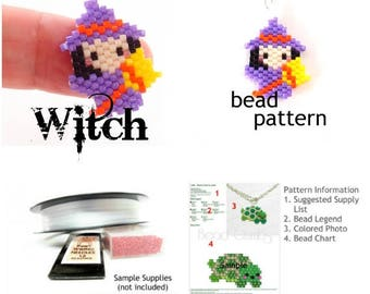Purple Witch Brick Stitch Bead PATTERN, Digital Download