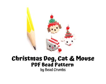 Christmas Dog, Cat and Mouse Brick Stitch Bead Pattern, PDF Digital Download