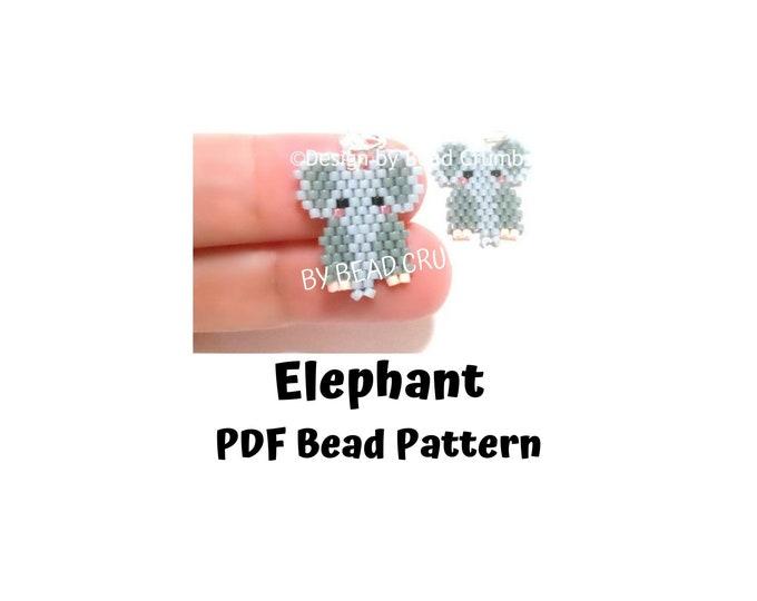 Elephant Brick/Peyote Stitch Bead PATTERN, DIY Craft Seed Bead Charm, PDF Digital Download (#1)
