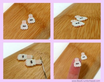 White Easter Bunny Charms - Earring, Pendant, Stitch Marker - Seed Bead Jewelry Craft (1 pc)
