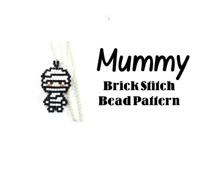 Mummy Seed Bead Pattern, Brick Stitch Bead Weaving, Halloween Beading | DIGITAL DOWNLOAD