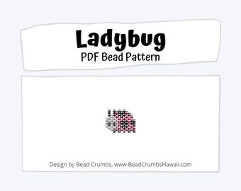 Beading Pattern Ladybug Insect, Brick or Peyote Stitch Charm  | PDF Digital Download