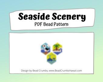 Seagull, Island, Whale Bead Patterns,  Peyote / Brick Stitch Beading, Seaside Scenery DIY Charms, PDF Digital Download