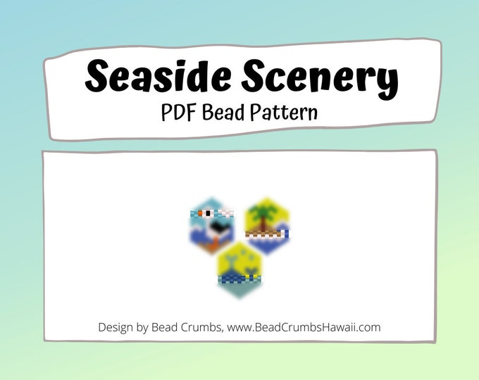 Seagull, Island, Whale Bead Patterns,  Peyote / Brick Stitch Beading, Seaside Scenery DIY Charms, PDF Digital Download