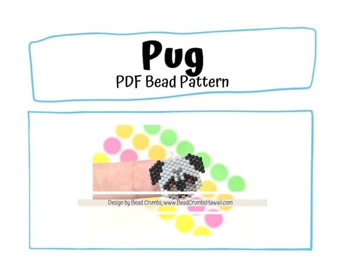 Black Pug Bead PATTERN, Brick Stitch Peyote Stitch Charm, PDF Digital Download