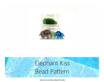 "Elephant Charm Beading PATTERNS, Gray & Blue, Miyuki Bead Weaving, Brick Stitch - ""Elephant Kiss"""