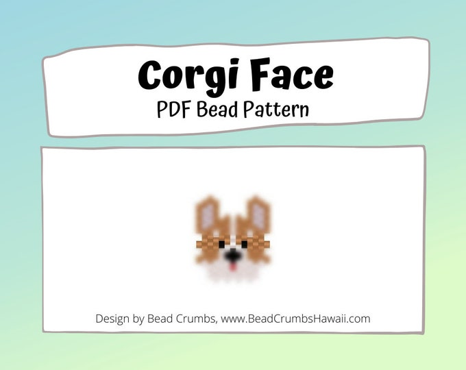 Corgi Face Peyote / Brick Stitch Dog Bead PATTERN | Digital Download