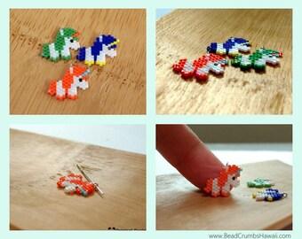 Unicorn Charm/Pendant: Orange, Blue or Green (1 piece)/ Brick Stitch Miyuki Seed Beads