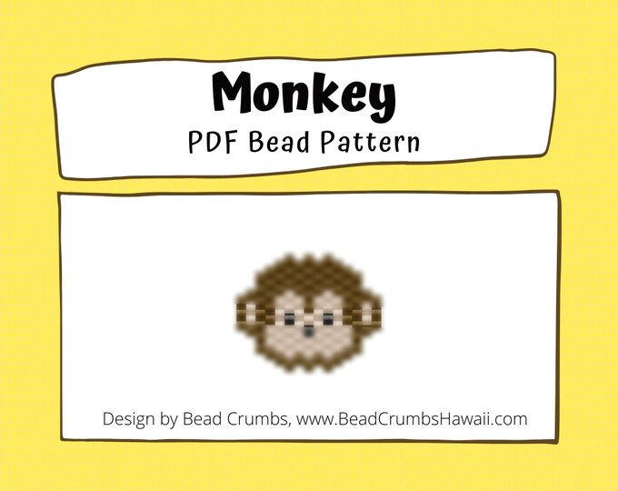 Bead Pattern Monkey Face | Peyote or Brick Stitch Beading | PDF Digital Download
