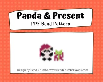Christmas Panda & Present Bead Pattern   Peyote or Brick Stitch DIY Charm   Digital File