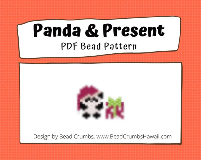 Christmas Panda & Present Bead Pattern | Peyote or Brick Stitch DIY Charm | Digital File
