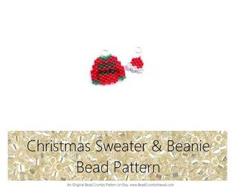 Brick Stitch Bead Pattern : Christmas Sweater and Beanie Cap