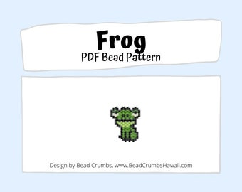 Brick Stitch Frog Bead PATTERN, DIY Beaded Charm Jewelry Accessory,  PDF Digital Download