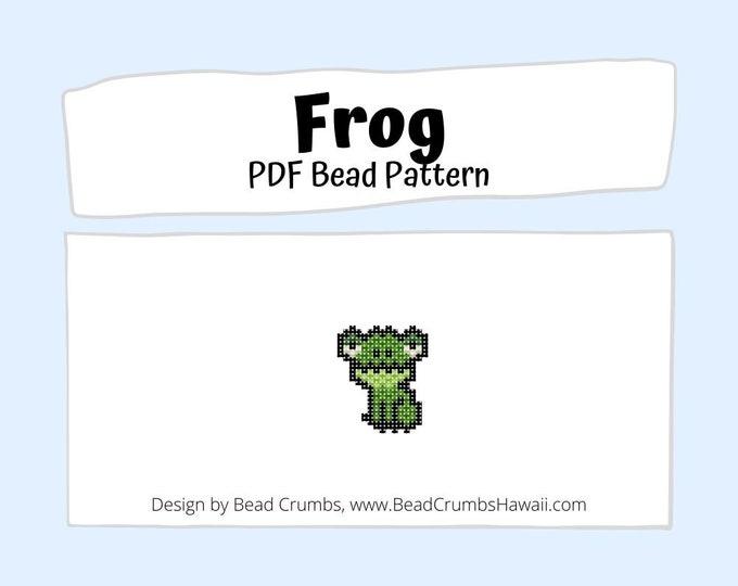 Brick Stitch Frog Bead PATTERN, DIY Beaded Charm Jewelry Accessory,  PDF Digital Download