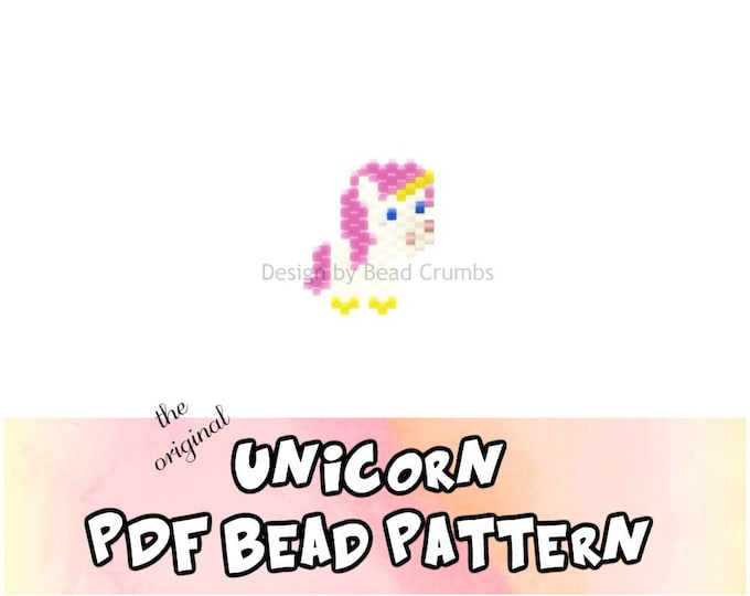 Brick Stitch Bead Pattern: Original Unicorn Charm, PDF Digital Download