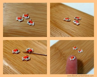 Micro Koi Fish Charms - Japanese Carp - Planner Cell Phones Bags - Miyuki Delica Brick Stitch Beads (set of 3)