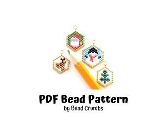 Bead Pattern Mini Christmas Ornament Charms, Brick Stitch Snowman, Santa Claus, Christmas Tree Reindeer, PDF Digital Download P2146358