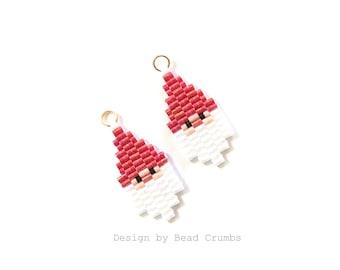Santa Claus Earring Charm / Pendant (1 Pc), Miyuki Brick Stitch Beading