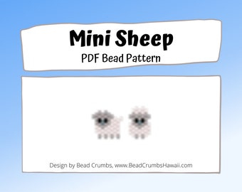 Brick Stitch Bead Pattern - Mini Sheep Seed Bead Charms, PDF Digital Download