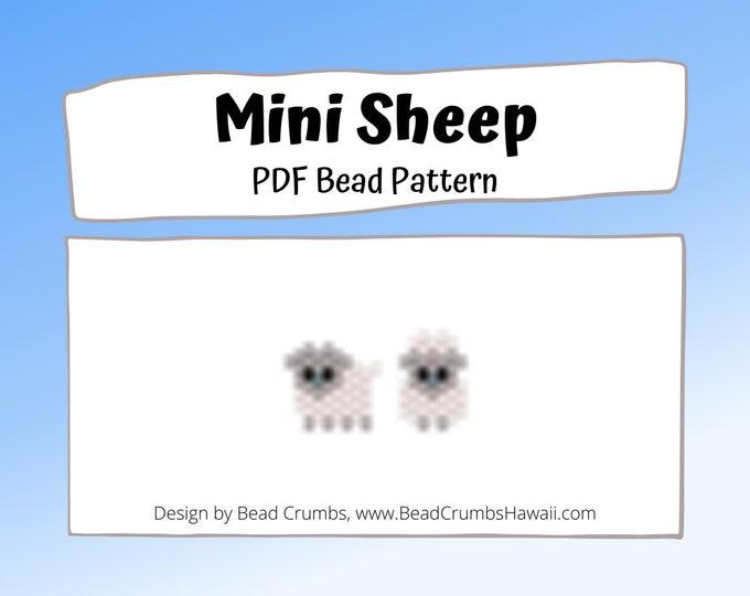 Brick Stitch Bead Pattern - Mini Sheep Seed Bead Charms, PDF Digital Download
