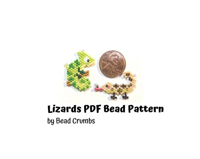 Beading PATTERN Brick Stitch Lizards, DIY Seed Bead Chameleon and Anole Lizard Charm, PDF Digital Download